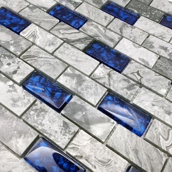 1x2 subway tile backsplash in gray royal etsy