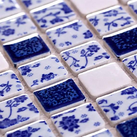 blue and white ceramic tiles adt33 11 6x11 6 per etsy