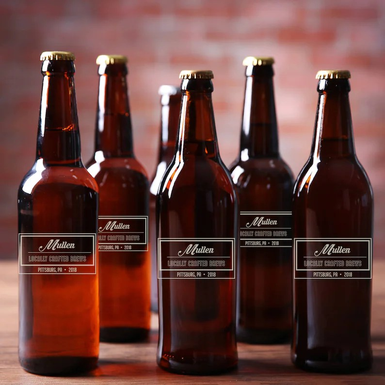 personalized etched beer bottles
