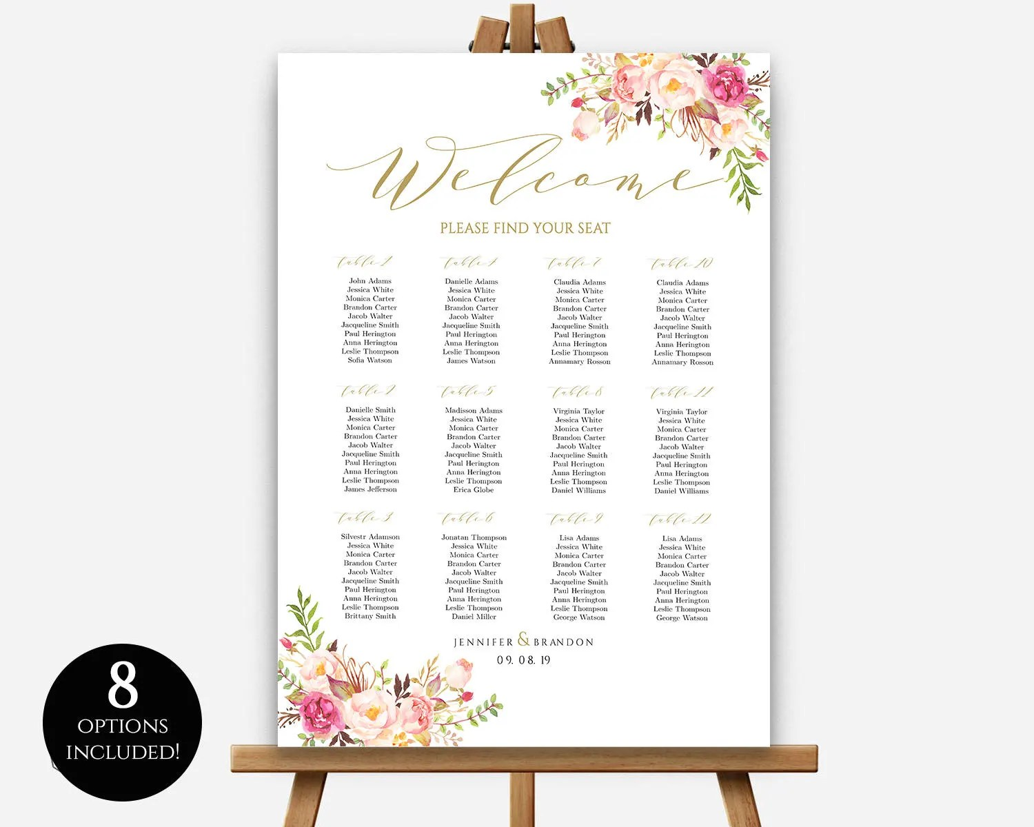 sizes wedding seating chart template editable table poster pdf instant download find your seat board also etsy rh