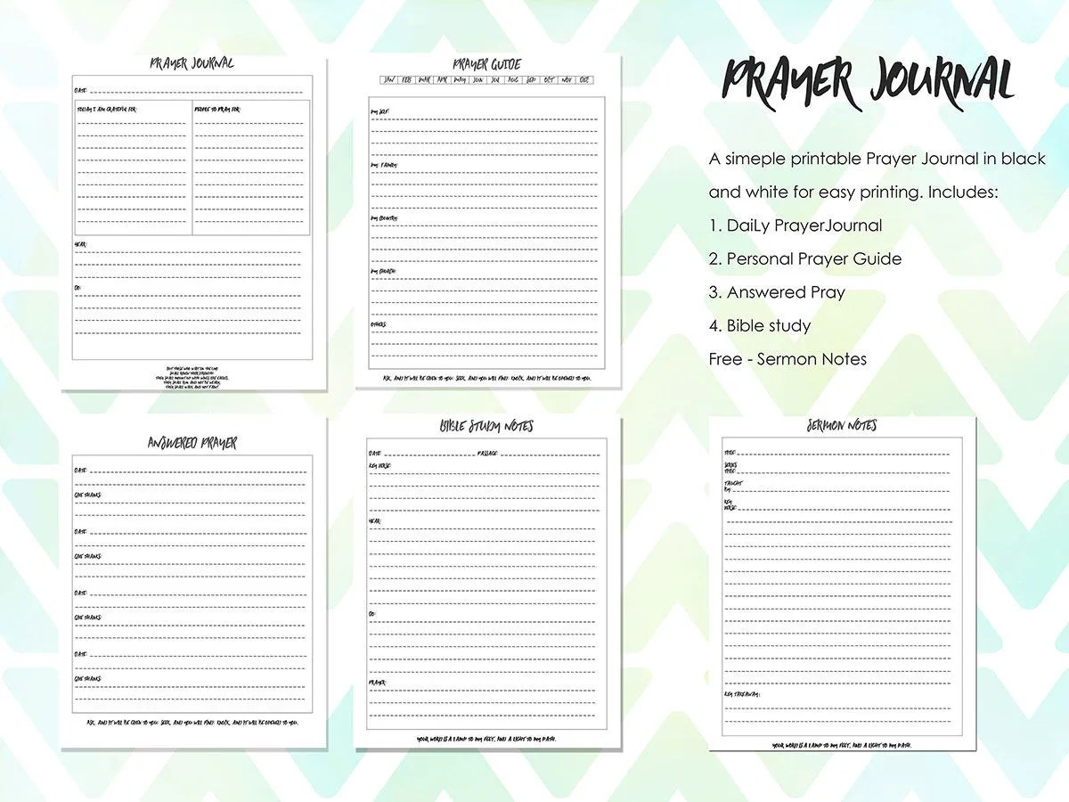 Printable Prayer Journal Bible Journal Bible Journaling