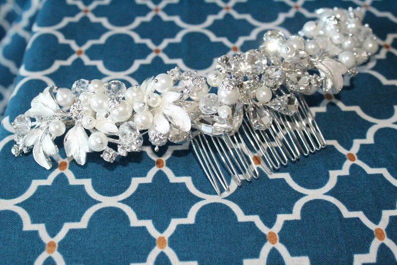 Pearl Beaded Hair Clip Pearl Bridal Combs Clearance Crystal Rhinestone Comb Wedding Hair Comb Crescent Pearl Pearl Hair Comb