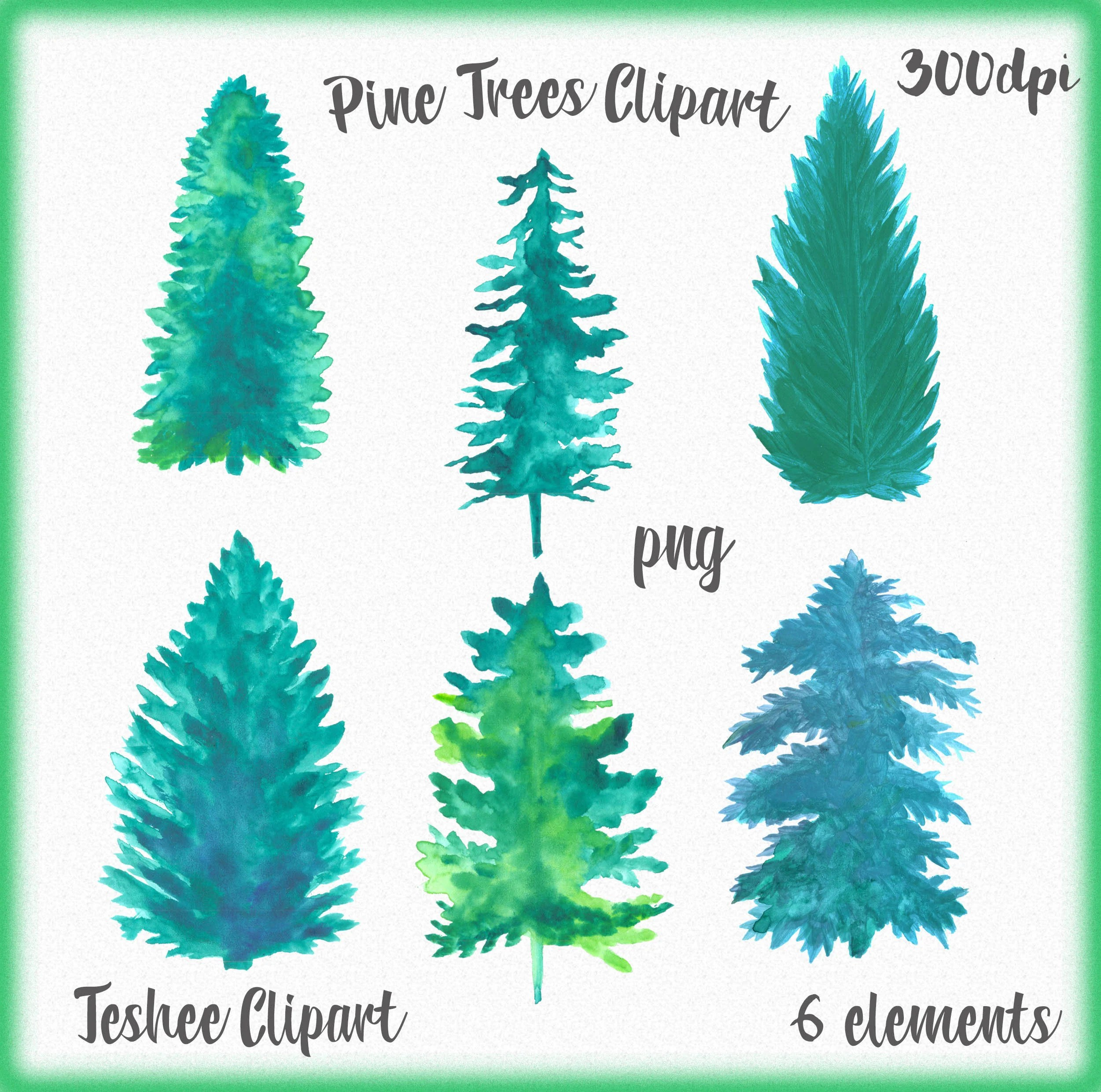 pine trees clipart watercolor