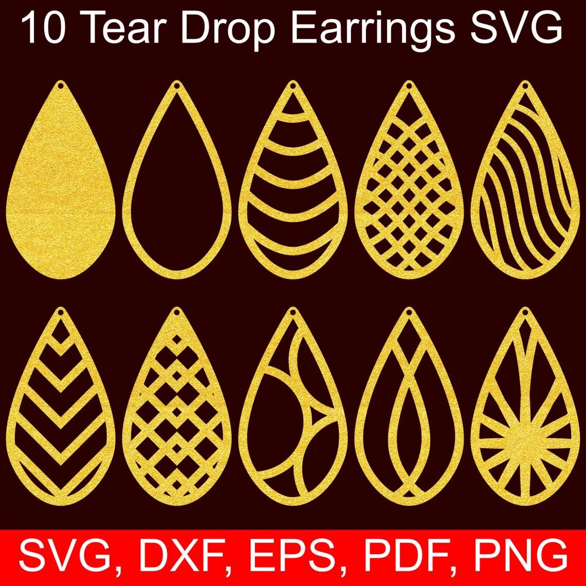 Download 10 Tear Drop Earrings SVG Files, Tear Drop SVG Cut files ...
