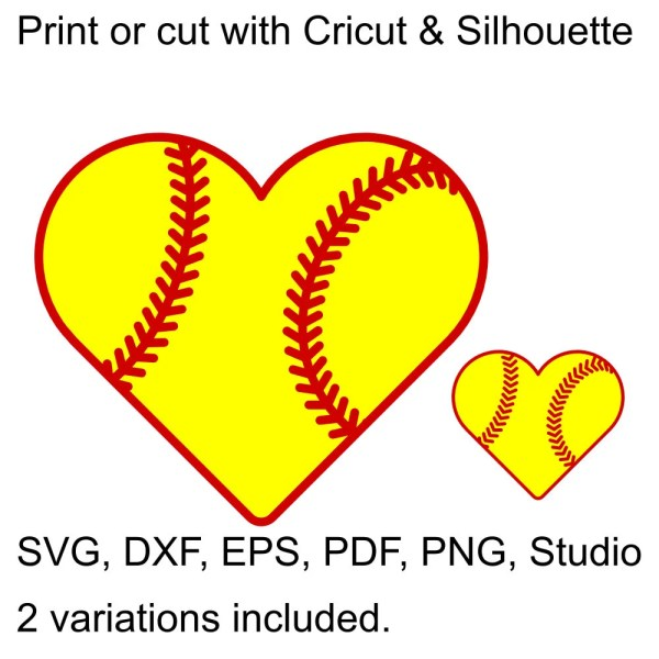 Softball Heart Svg File Cricut & Silhouette