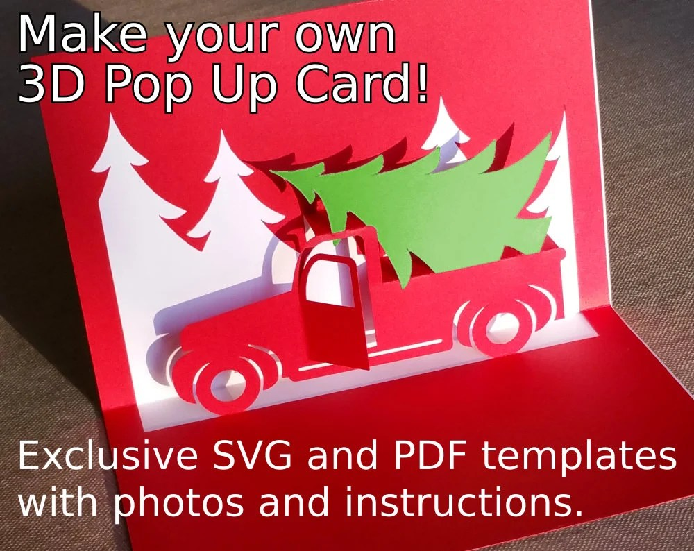 Marji roy designs 3d cutting files in.svg,.dxf, and.pdf formats for use with silhouette and cricut cutting. Christmas Truck Popup Card Template Svg Pdf For Cricut Etsy