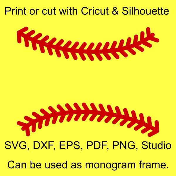 Softball Stitches Svg Files Make Monograms And