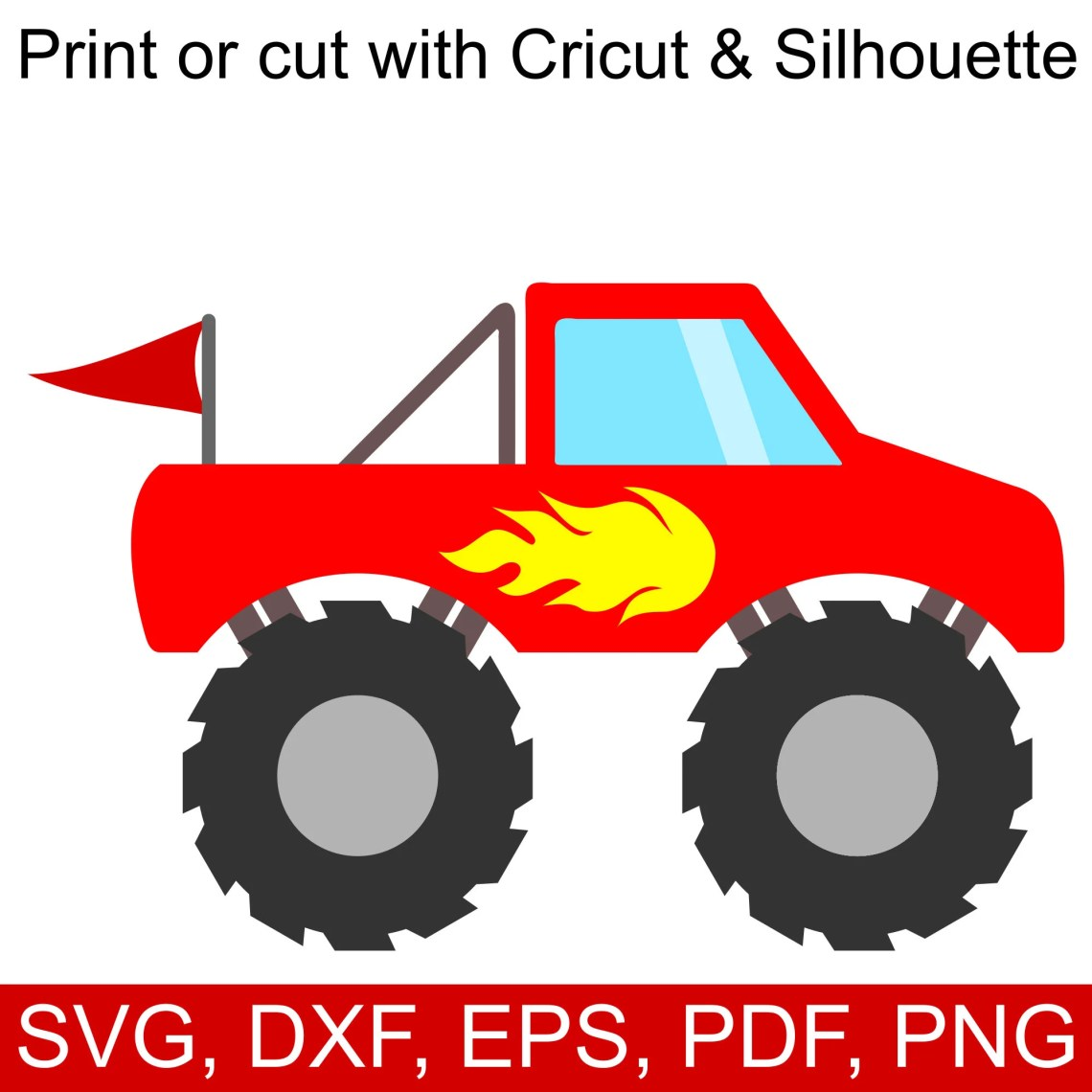 Download Red Monster Truck SVG File with Flames and Flag to make ...