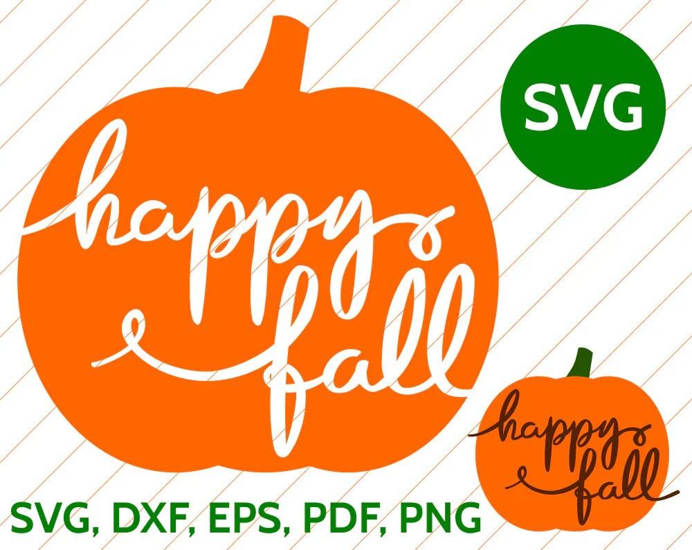 Happy Fall SVG Pumpkin Handwritten Calligraphy Cut File ...