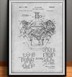 1954 chrysler 426 hemi v8 engine poster patent art print gift image 1  [ 794 x 1077 Pixel ]