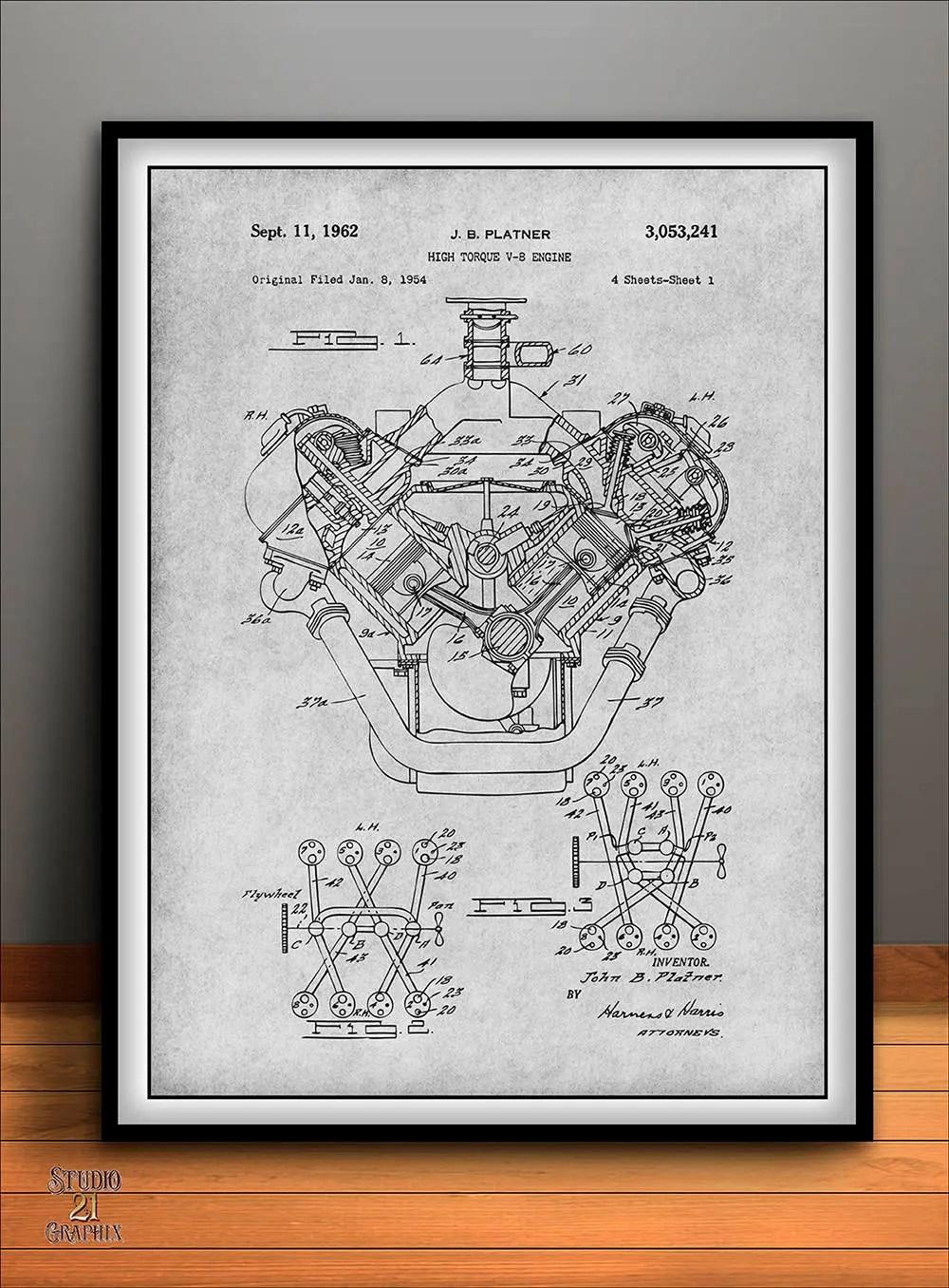 hight resolution of  1954 chrysler 426 hemi v8 engine poster patent art print gift image 1