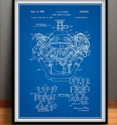1954 chrysler 426 hemi v8 engine poster patent art print gift etsyimage 0 [ 794 x 1077 Pixel ]