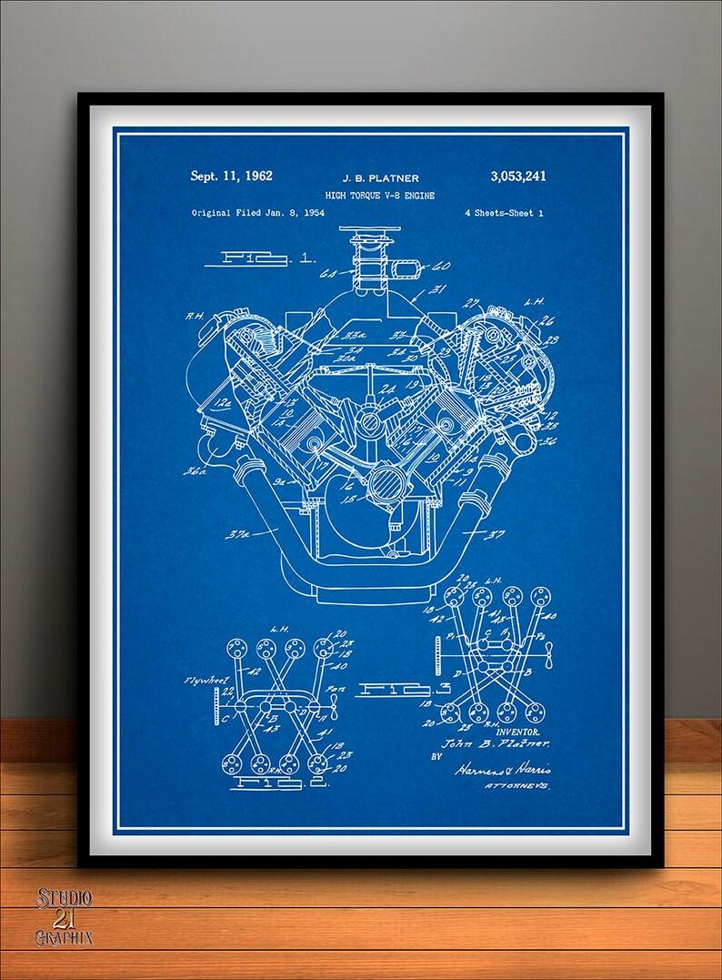 medium resolution of 1954 chrysler 426 hemi v8 engine poster patent art print gift etsyimage 0