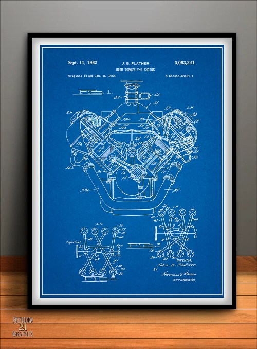 small resolution of 1954 chrysler 426 hemi v8 engine poster patent art print gift etsyimage 0