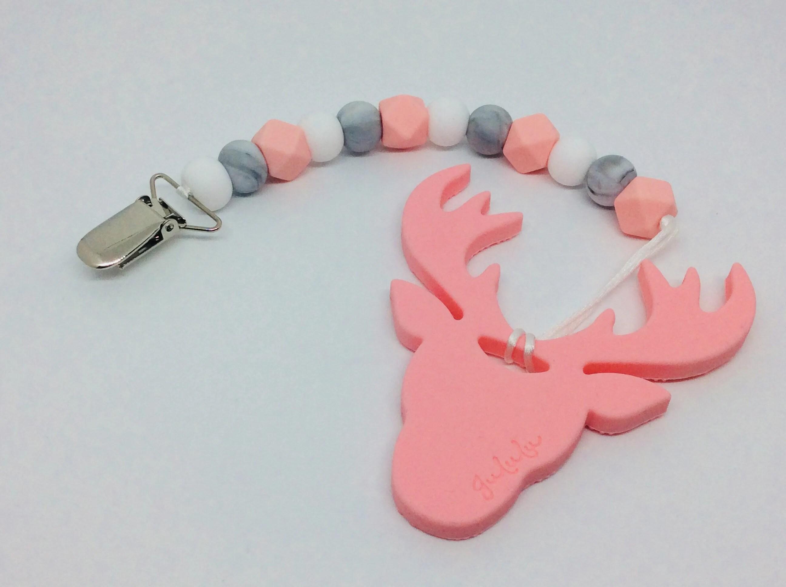 Pink Deer Teether  Pacifier Clip image 1