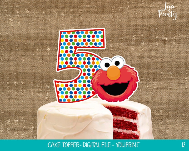 Elmo Cake Topper Print Yourself Elmo Birthday Centerpiece Etsy