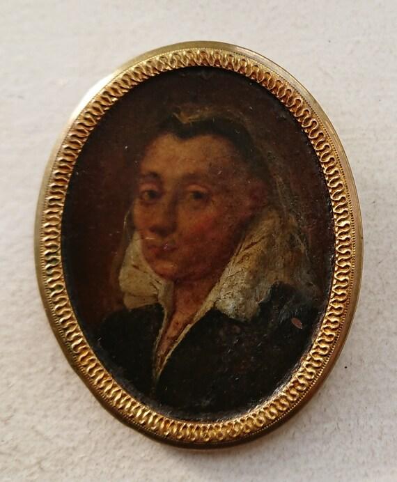 portrait miniature d une femme sur cuivre 17eme siecle