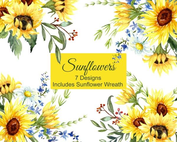 sunflowers watercolor clip art