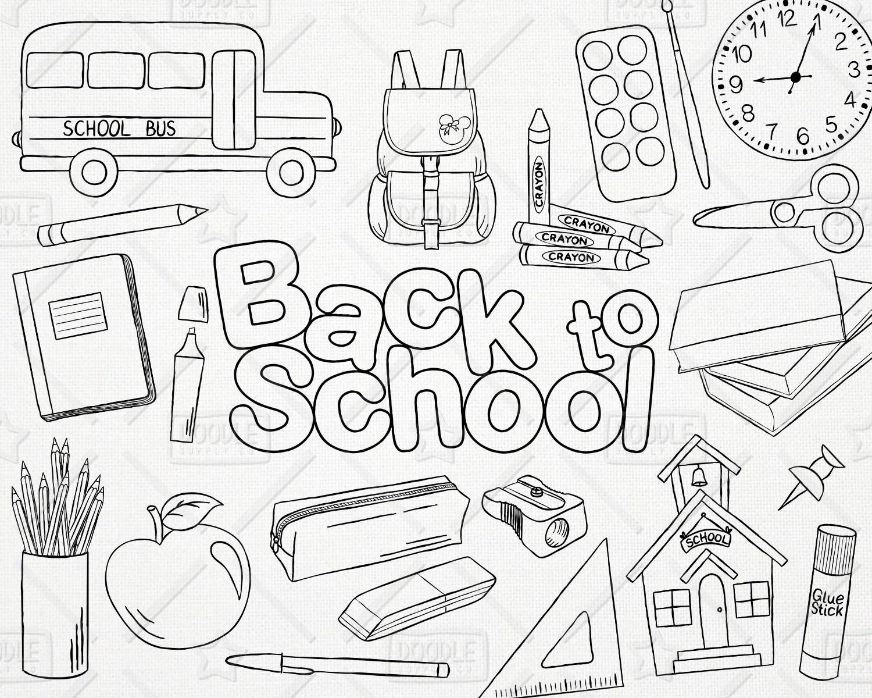 Doodle Back To School Vector Pack Hand Drawn School