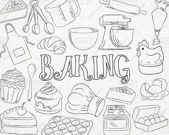 Doodle Baking Vector Pack Kitchen Clipart Pastry Clipart