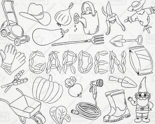 doodle garden gardening clipart vegetables vector pack svg mower lawn