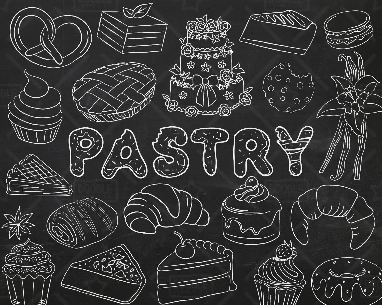 chalkboard pastry vector pack