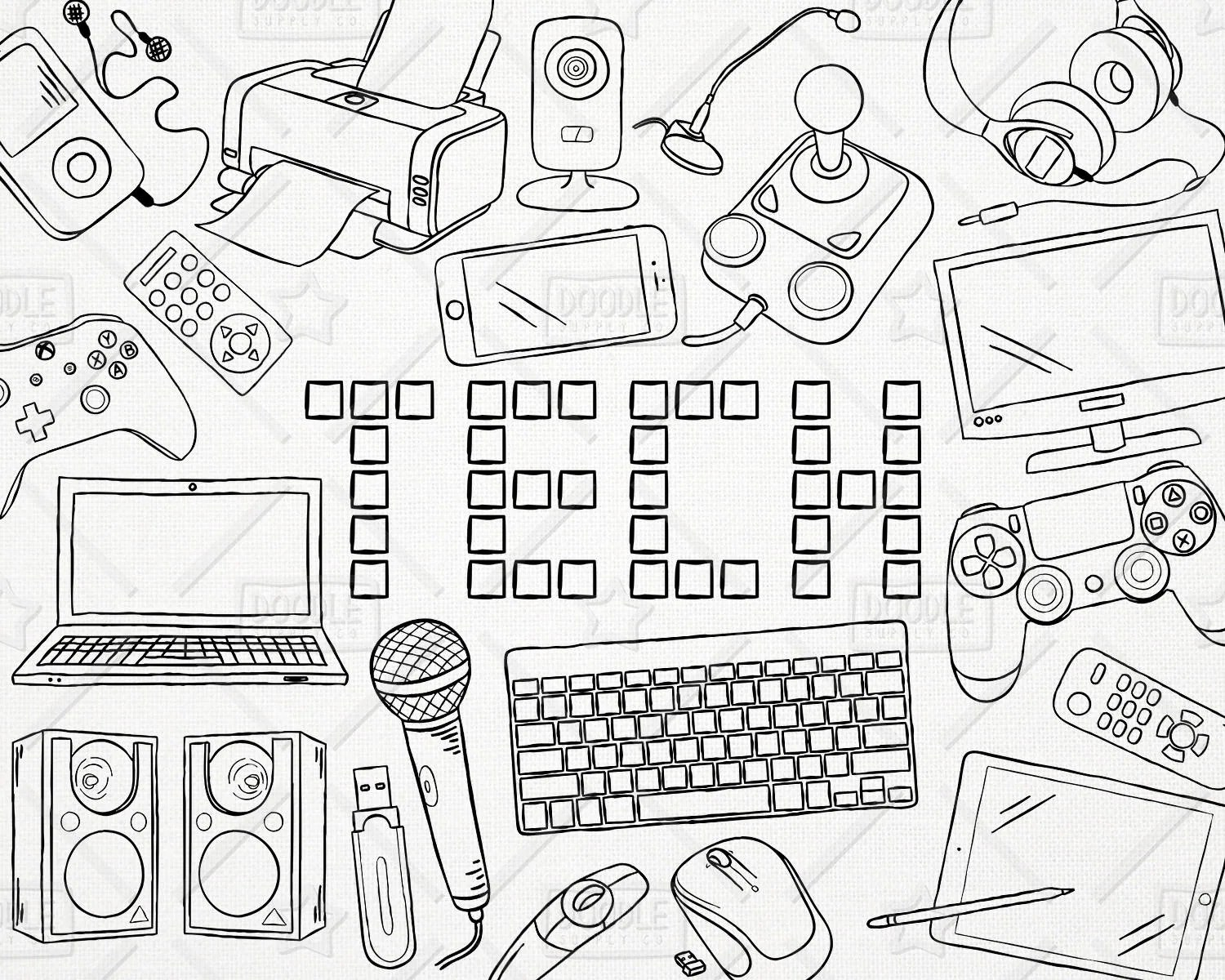 Doodle Technology Vector Pack Tech Clipart Electronics