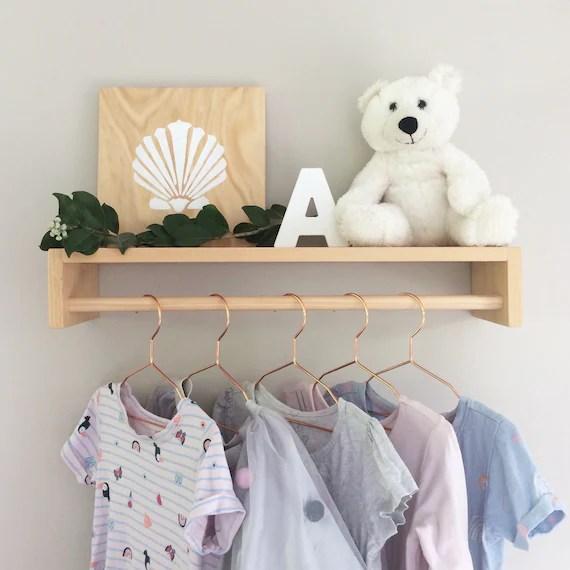 hanging shelf nursery hanging rack kids wooden clothes etsy