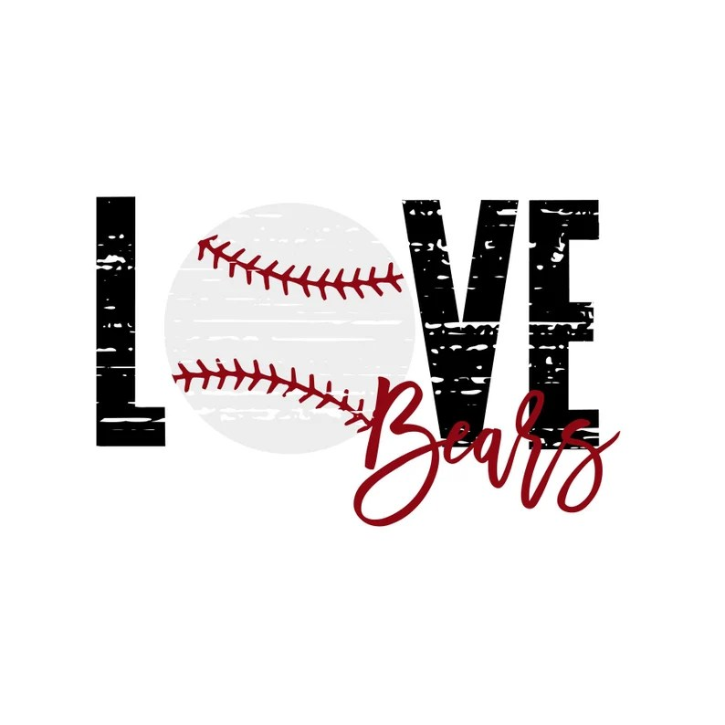 Download Love Bears Distressed Baseball SVG   Etsy