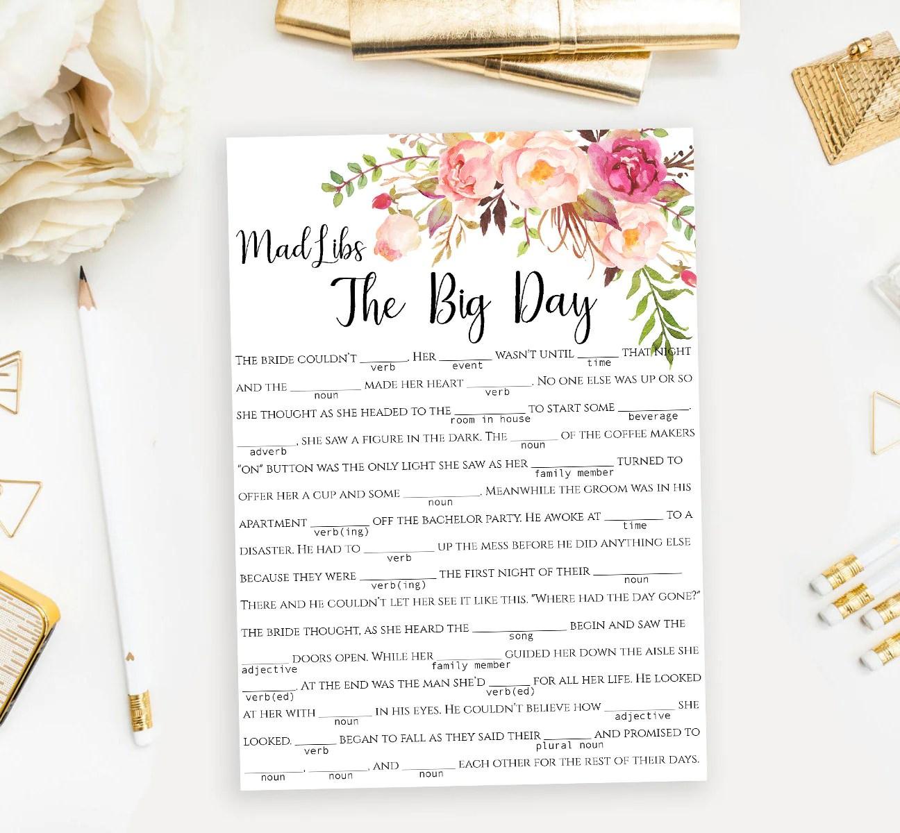 Wedding Mad Libs Story Game Printable Funny The Big