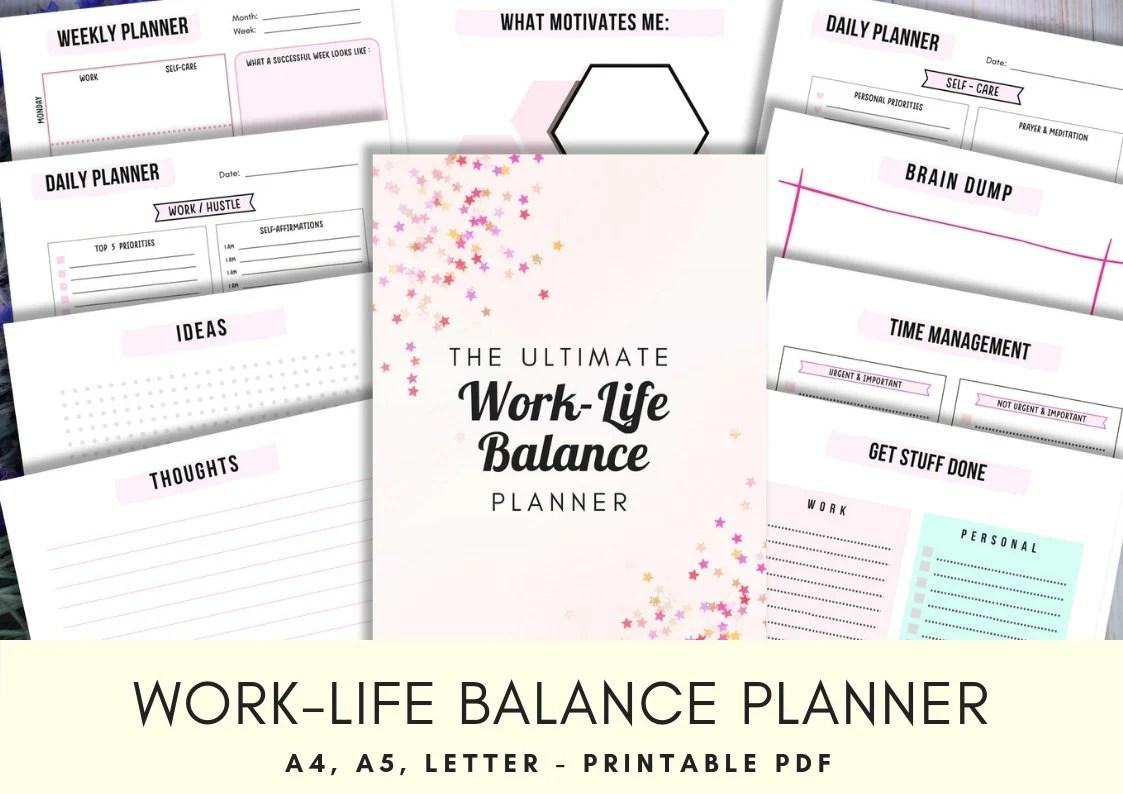 Work Life Balance Printable Planner Productivity Planner