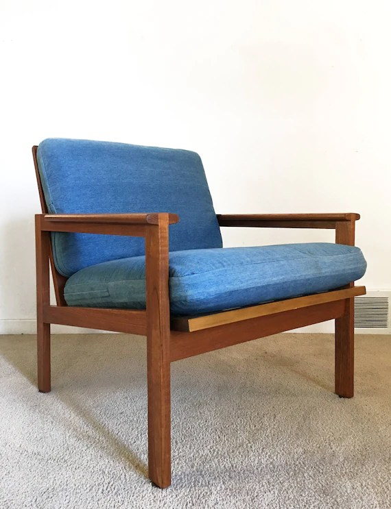 teak lounge chair wooden folding table and chairs set vintage danish modern illum wikkelso capella etsy image 0
