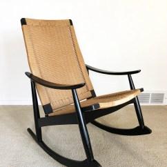 Woven Rocking Chair Baseball And Ottoman Danish Modern Rocker Cord Rope Etsy 50
