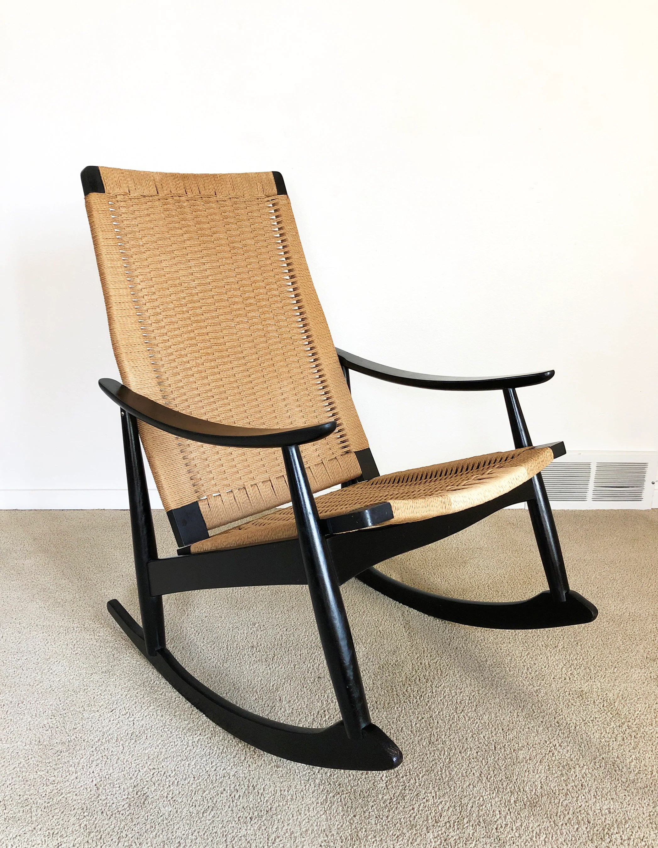 danish modern rocking chair gentlemans rocker woven cord rope etsy 50