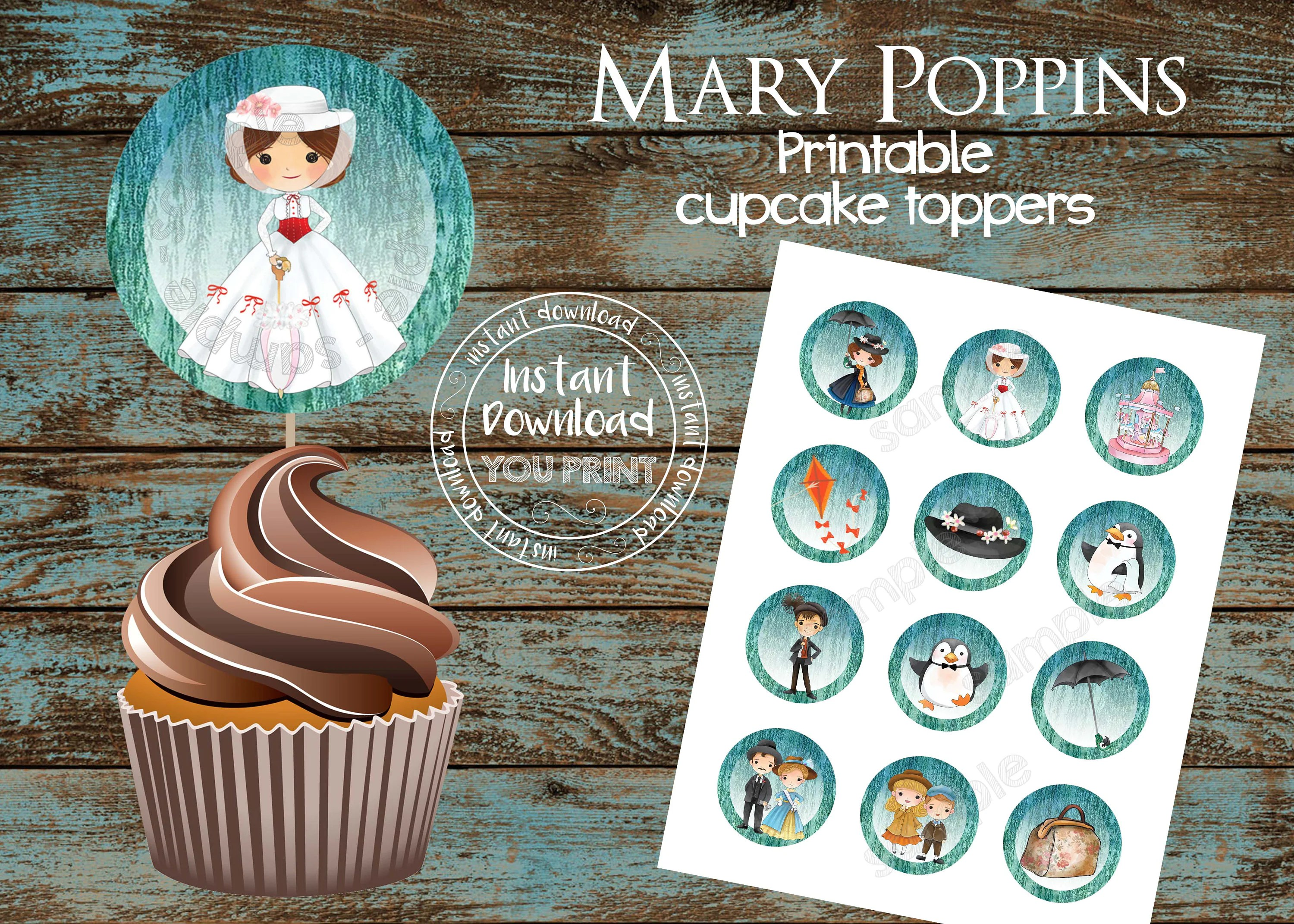 Printable Mary Poppins Cupcake Toppers Mary Poppins Party