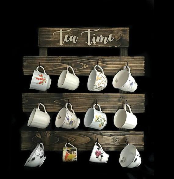 tea cup rack farmhouse coffee mug wall rack tea cup display 12 etsy