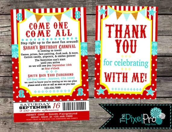 carnival birthday invitation for birthday party circus birthday invite greatest show invitation carnival birthday party invitation ticket