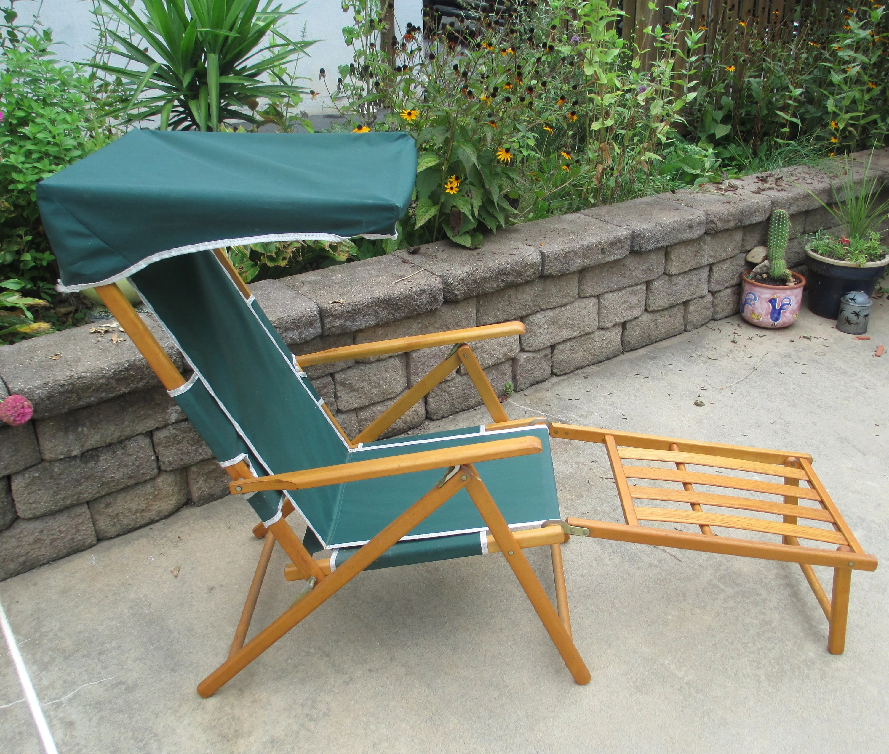 vintage lawn chair luxor spa etsy wood canvas and by telescope casual furniture mid century very solid condition retro beach lounge 5 positions