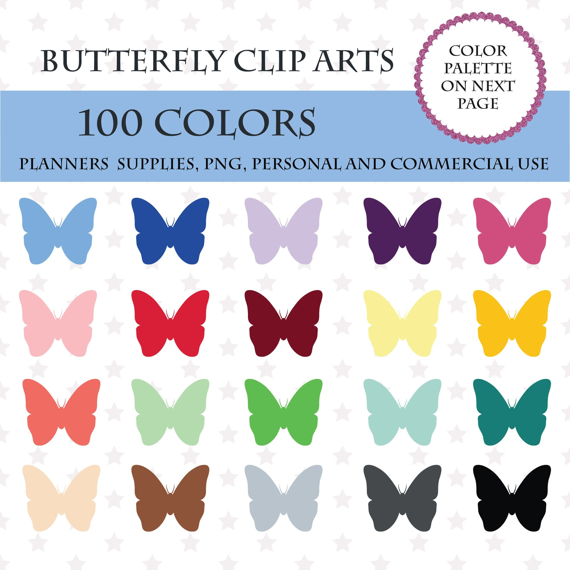 hight resolution of 50 100 colors clip art 100 butterfly