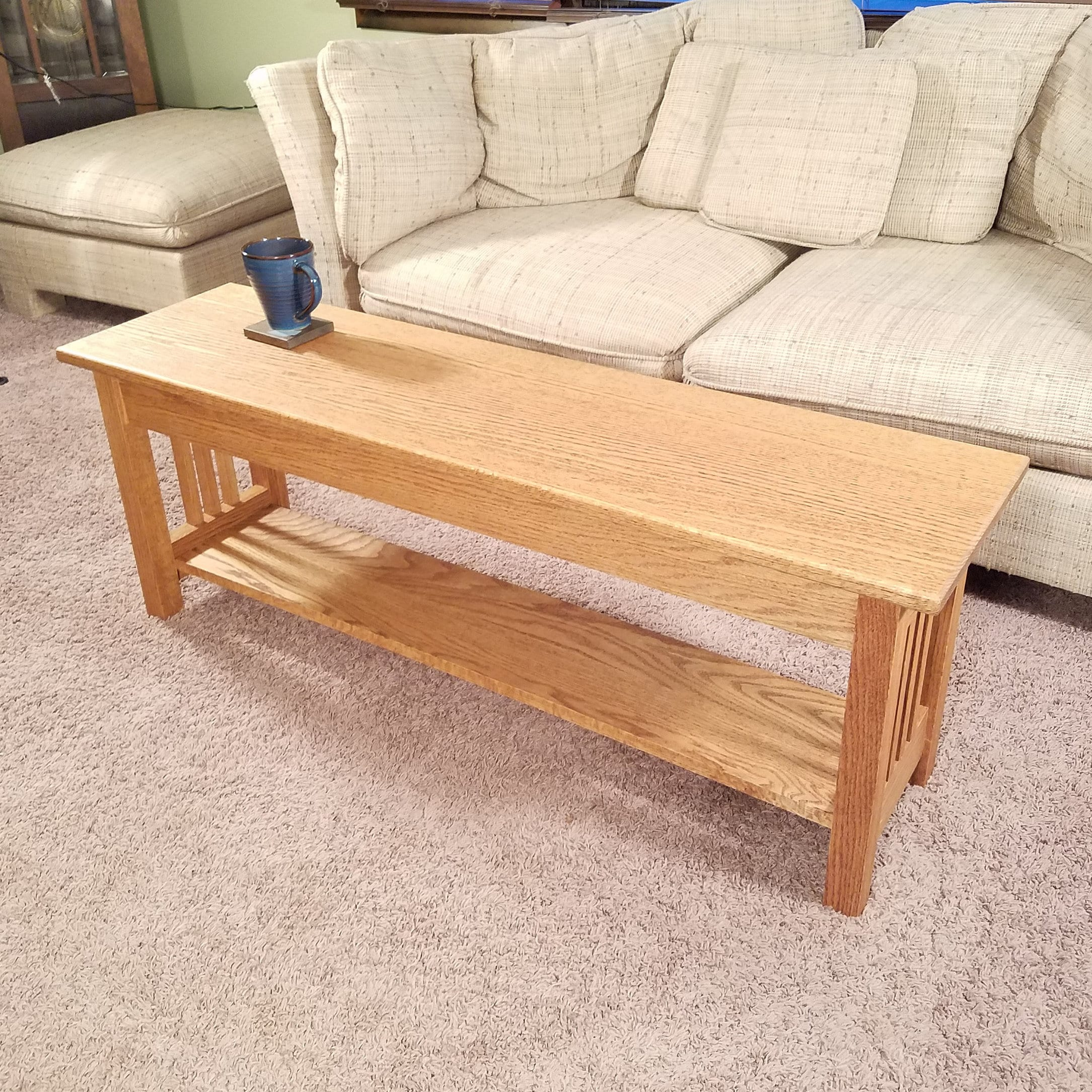 Arts And Crafts Solid Oak Coffee Table Mission Style Hallway Entryway Free Shipping