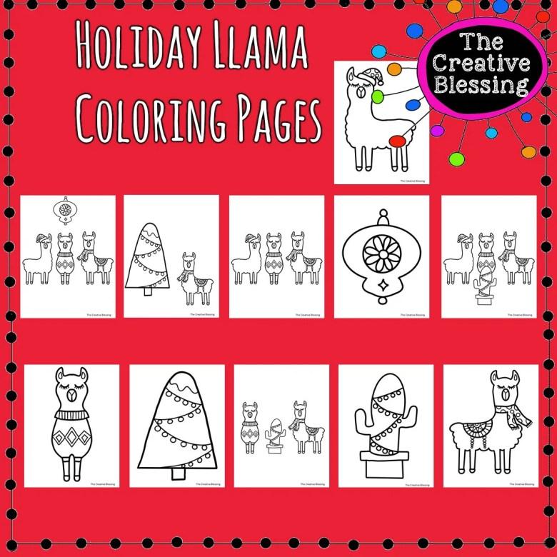 printable christmas holiday llama coloring sheets llama | etsy