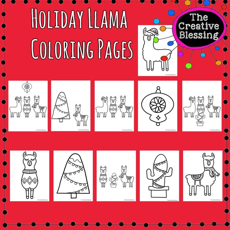 printable christmas holiday llama coloring sheets llama | etsy