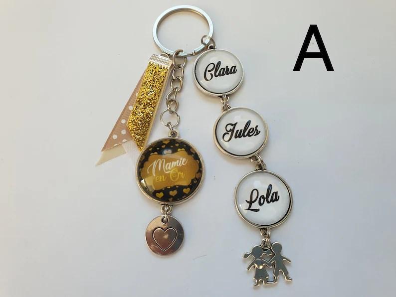 porte clé mamie en or porte clés personnalisé mamie cadeau image 0