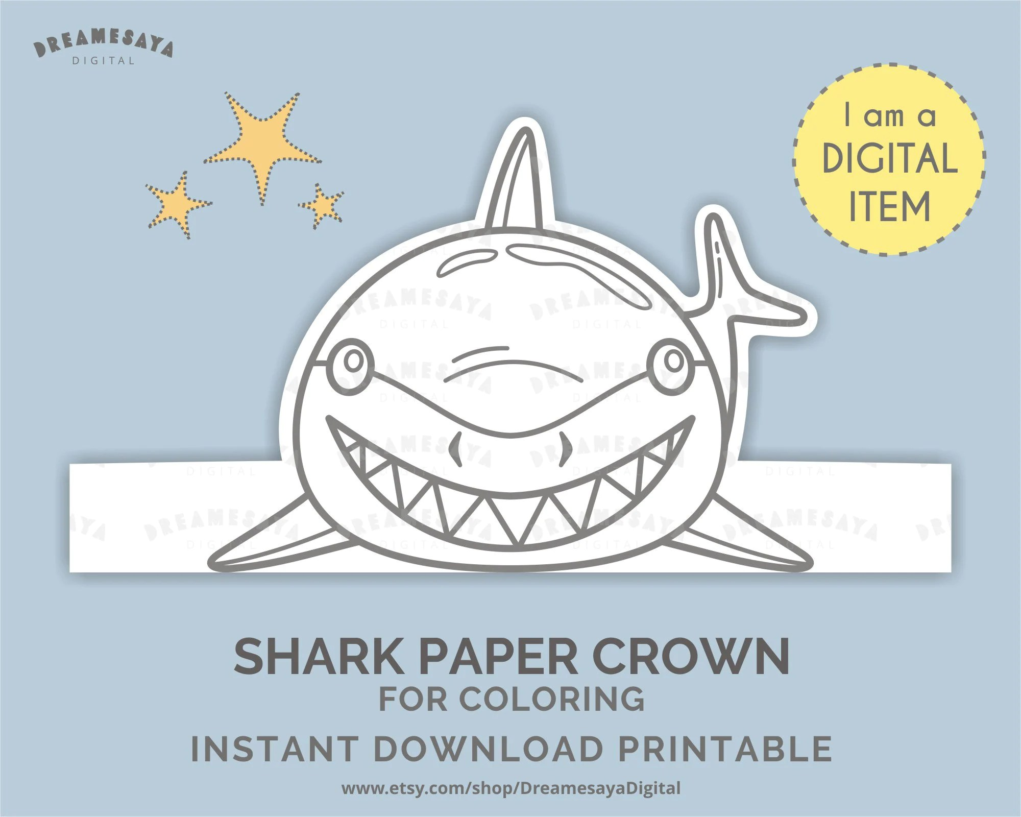 Download Shark Headpiece Diy Printable Shark Paper Hat For