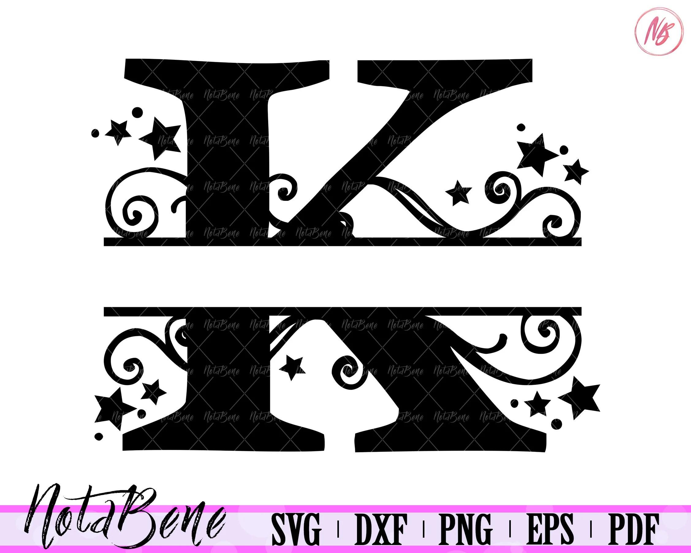 K Split Monogram Svg Split Letter K Svg Divided Initial K