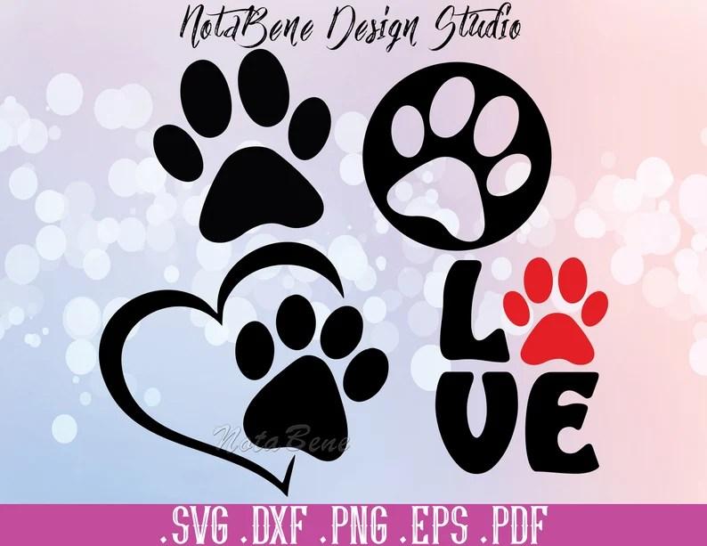 Download Dog Love SVG Dog Paw Print DXF Paw Puppy Canine Animal Dog ...
