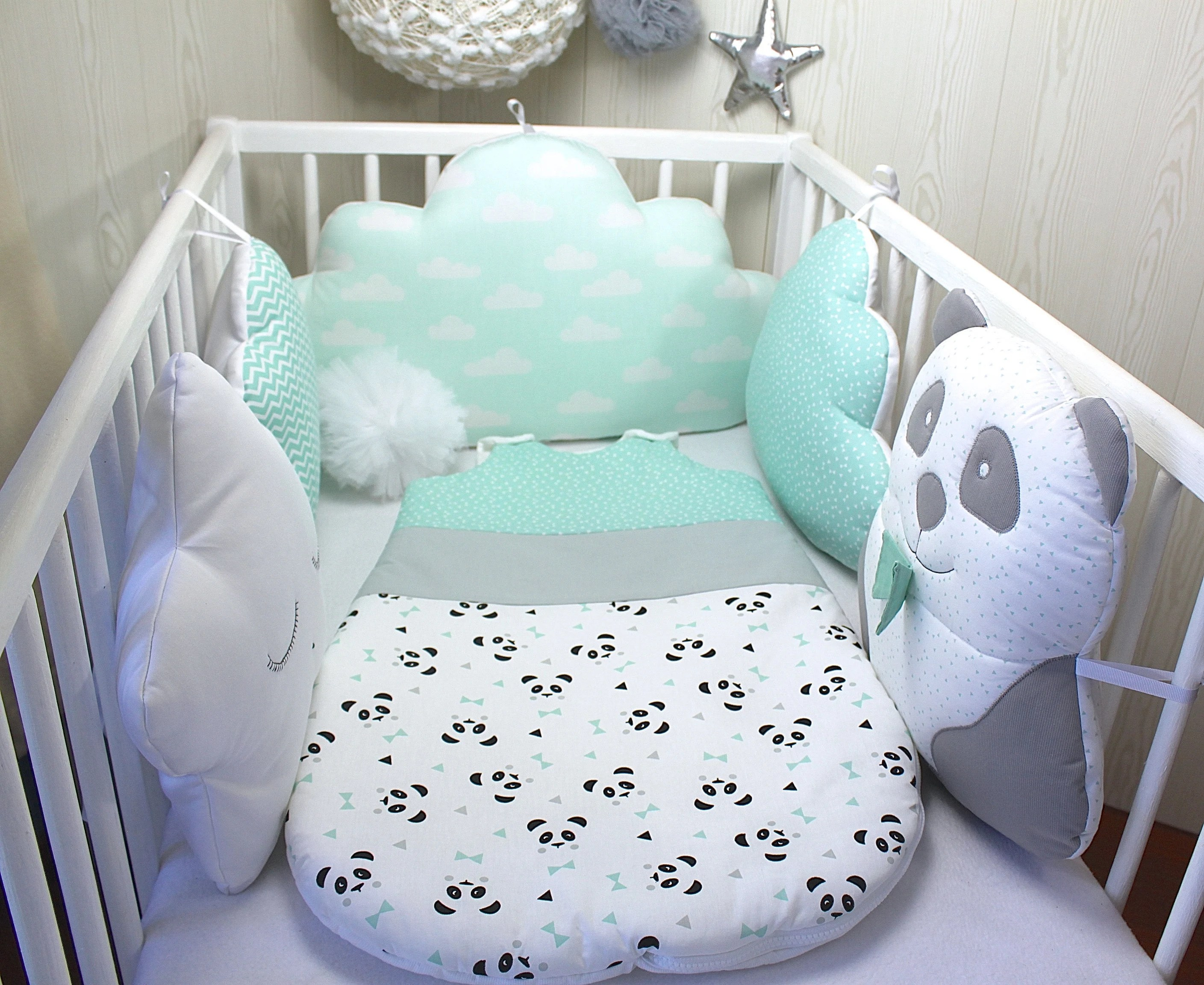 circumference of baby panda cloud and star green water bed white and gray