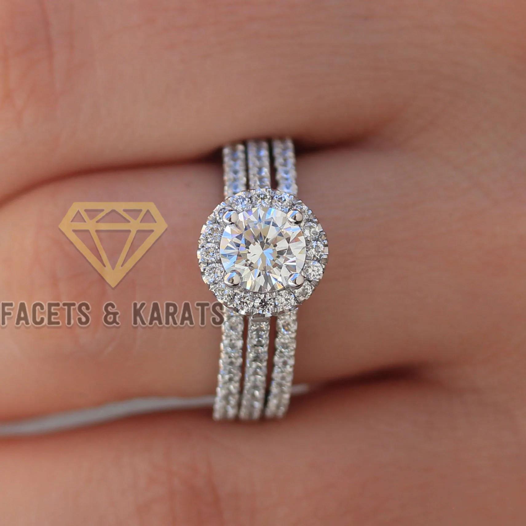 Platinum Engagement Ring and Double Wedding Band Bridal Set  Etsy