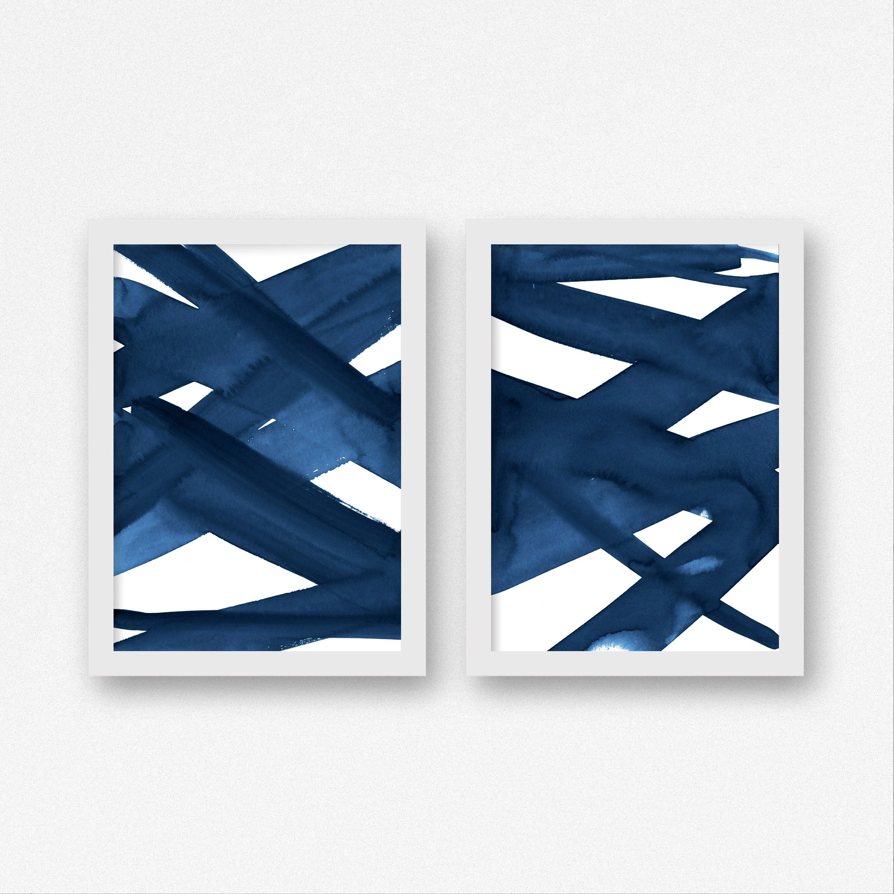 modern living room wall art paint ideas for with brown couches etsy navy blue abstract paintings 2 piece set home decor oversized extra large minimalist