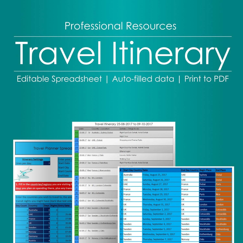 Travel Itinerary Planner Editable Spreadsheet